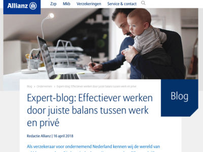 Work-life balance expert blog Janny Brusselers voor Allianz